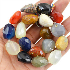 Fabulous Rare 496.30 Cts Natural Multicolor Onyx Faceted Gemstone Beads Strand