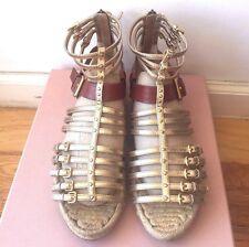 Auth Miu Miu Roman Gladiator Golde Buckle Sandals