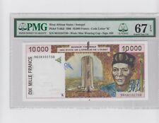 WEST AFRICAN SENEGAL 10000 FR 1996 P 714K d  SUPERB GEM UNC PMG 67 EPQ