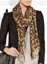 "ALEXANDER MCQUEEN beige SKULL Leopard print 52""-Square cashmere shawl NEW Authen"