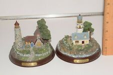 Lot of 2 Thomas Kinkade The Light Of Peace Lighted Lighthouse Figurine In Storm