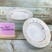 Sasaki ABSINTHE Abstract Pink Rim Floral Oven Safe China Rim Soup Bowls  Set 4