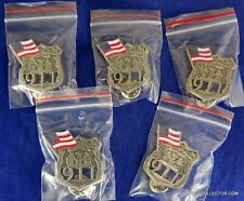 LOT OF FIVE 9-11 POLICE OFFICER MEMORIAL MINI BADGE PINS
