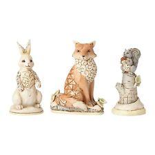 New JIM SHORE Figurine WHITE WOODLAND Quilt Folk Art FOX BUNNY CHIPMUNK 3-Pc Set