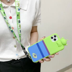 For iPhone 11 Pro Max XS XR 6 7 8+ Cute Disney Cartoon Alien Strap silicone Case