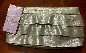 Victoria's Secret Gold Ruffled Make Up Bag Nwt