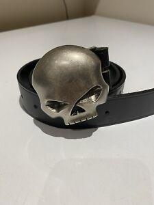 "Harley Davidson Willie G Skull Black Leather Belt, 32"" Waist"