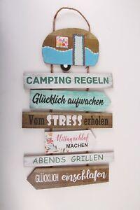 Holzschild Campingregeln Regeln Holz Garten Bunt Garten Deko