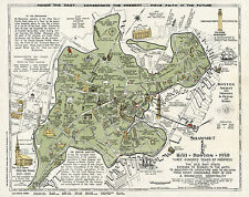 Pictorial Historical Map Shawmut Boston 1630 and 1930 - 300 years of progress