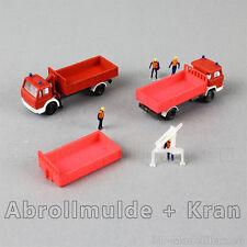 1:160 Spur N scale Kleinserie Baustelle Feuerwehr Abrollmulde Kran Absetzmulde