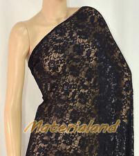"160cm(63"") Width Black 4-Way Stretch Spandex Lace Fabric DIY Dress Making LC01H"