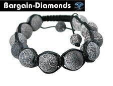 shamballa disco ball 12 mm snakeskin agate beads black silk macrame bracelet