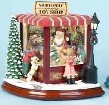 Santa Claus North Pole Shop Light Up Animated Christmas Music Box