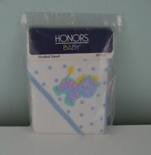 Vintage Honors Baby Hooded Bath Towel White Blue Dots Zebra Yellow USA Made NEW