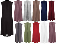 Ladies Sleeveless Open Front Lightweight Jerseyend Maxi Cardigan Size 8-26