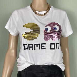 Pac Man White Pink Gold Sequin Gamer Retro T-shirt Size 10