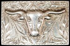 Vintage Sterling Silver Longhorn Belt Buckle