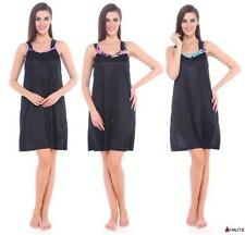 Knee Length Satin Glamour Patternless Nightwear for Women