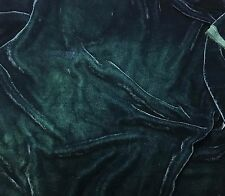 "Hand Dyed Silk VELVET Fabric Deep Teal Blue Green 9""x22"" remnant"