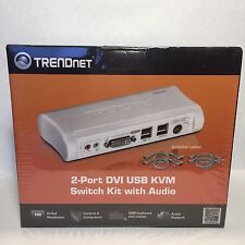 New Sealed - TRENDnet 2-Port DVI USB KVM Switch Kit with Audio TK-204UK (V2.0R)