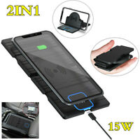 Qi Wireless Fast Charger Charging Pad Mat DashBoard Mount Phone Holder Bracket