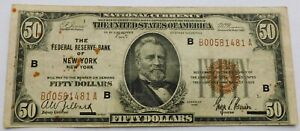 1929 $50 Federal Reserve Bank of New York National Currency Note, Grant Bill
