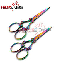 NEW 2 PCS Various Style Mini Scissors 3.5'' Titanium-Color Perfect Points