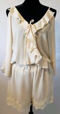 Womens Umgee Beige Lace Size Medium M Women's Ruffles Tie Up Cold Shoulder NWT