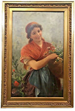 "GEORGES KUGELMANN BENDA (FRENCH, 1873-c.1961) ""FLOWER GIRL"" OIL ON CANVAS"