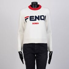 FENDI x FILA 1090$ Cropped Logo Embroidery Sweater In Off White