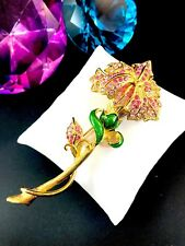 LTD. ED. 1997 TRIFARI TM GOLDTONE PINK RHINESTONE LONG STEM ORCHID FLOWER BROOCH