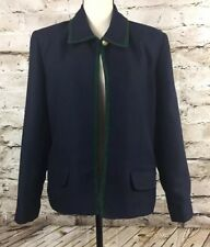 Womens Lucia Navy Blue Blazer/Jacket Green Trim Size 14