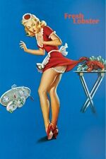 FRESH LOBSTER 24x36 PINUP POSTER Lifting Waitress Skirt Seafood NEW/ROLLED!
