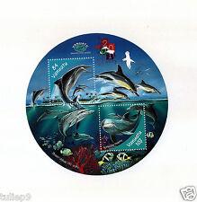 Vanautu (2001) Round Miniature Sheet - Dolphins of Vanautu (HK Over Print) MNH