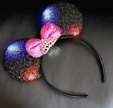 Minnie Mouse Ears Headband Princess Black with pink Bow Party light up and tiara