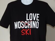 NWT MEN LOVE MOSCHINO EMBROIDERED SKI GRAPHIC BLACK T SHIRT XL AUTHENTIC