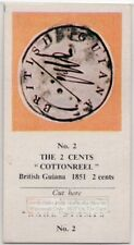 Vintage Trade Ad Card 1851 British Guiana 'Cottonreel' 2 Cent Postage Stamp