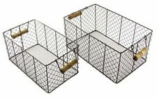"Set of 2 Rectangular Metal Wire Basket with Wood Handles, Large 7"", Small 6.75"""