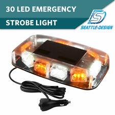 30 LED Amber/White Top Roof Flash Emergency Mini Strobe Light Bar 12V-24V