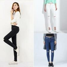 Denim Ripped, Frayed Mid-Rise Jeans for Women