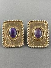 Couture Vintage EDOUARD RAMBAUD Paris Gold Purple 1980's Earrings Faux Amethyst