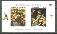 #982 ECUADOR 1969 ART PAINTING CHRISTMAS SILVER O/P S/SHEET Mi BL 54 MNH
