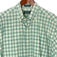 Lyle & Scott Mens Large L Button Down Combed Cotton Green Plaid Shirt Scotland