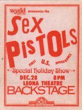 Sex Pistols 1977 Original U.S. Tour Unused Pittsburgh Backstage Pass / Nm 2 Mnt