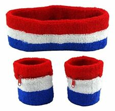 Sweatband Set HeadBand + 2 Wristbands w/ Zipper Great for An 80's / 90's Party