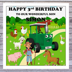 KIDS TRACTOR BIRTHDAY CARDS - personalised with any AGE RELATIONSHIP & NAME