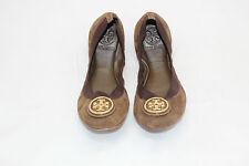 TORY BURCH Elastic Logo Caroline Suede Ballerina Ballet Flats Brown 5.5M (H10)