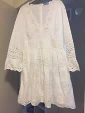 RED VALENTINO V-neck Eyelet Dress Broderie Anglaise IT 40/US 2-4 White Cotton