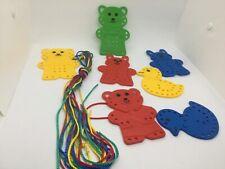 Sewing Cards Plastic Lacing Animals Preschool Fine Motor Hand Eye Coordination