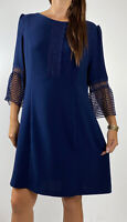 REVIEW Navy Blue Lace Crochet 3/4 Bell Sleeve Dress Plus Size AU 18 Party Work
